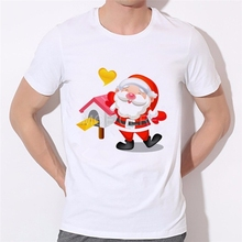 Men's Christmas T-shirt Fashion Christmas gift hipster Santa Claus Printed Men T Shirts Short Sleeve Funny Tops 46-34#(China)