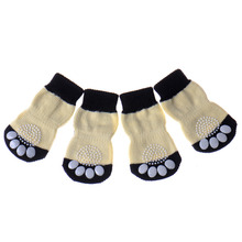 Hot Socks for Dogs 100% Cotton dog footprints Pet shoes with Bottom Non-slippery Footprint Warm Sock 4 Pcs Drop Shipping(China)