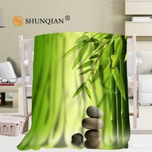 Custom Spa Zen Stones Bamboo Flower Blanket Soft Fleece DIY Your Picture Decoration Bedroom Size 58x80Inch,50X60Inch,40X50Inch(China)