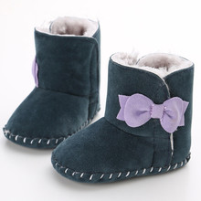 Baby Booties Baby Boots First Walkers Female Baby Soft Bottom Non-slip Shoes Plus Velvet Winter Boots Shoes 0-1 Years WMC903LL(China)