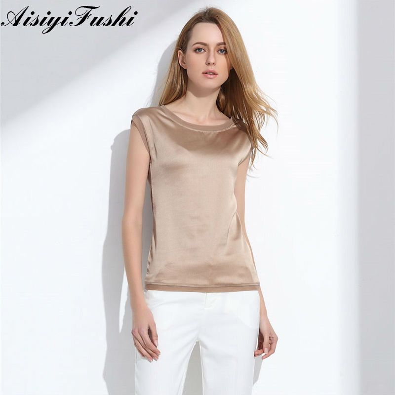 Women's Blouse 2019 Summer Shirts Casual OL Silk Women Blouse Shirt Sexy White Red Tops Loose Sleeveless Work Wear 6 Color Blusa(China)