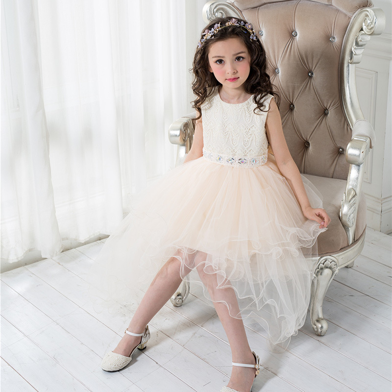 Toddler Princess Girls Champagne Cotton Satin Korean Bowknot Decor Sleeveless Ball Gown Wedding Party Formal Dress<br>