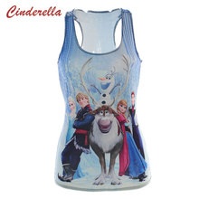 Harajuku Personalized 3D Digital Froze Thin Cartoon T Shirt Blue Snow Queen Aisha Sexy Anna Hans Tops Women Sporting Vest 2016(China)
