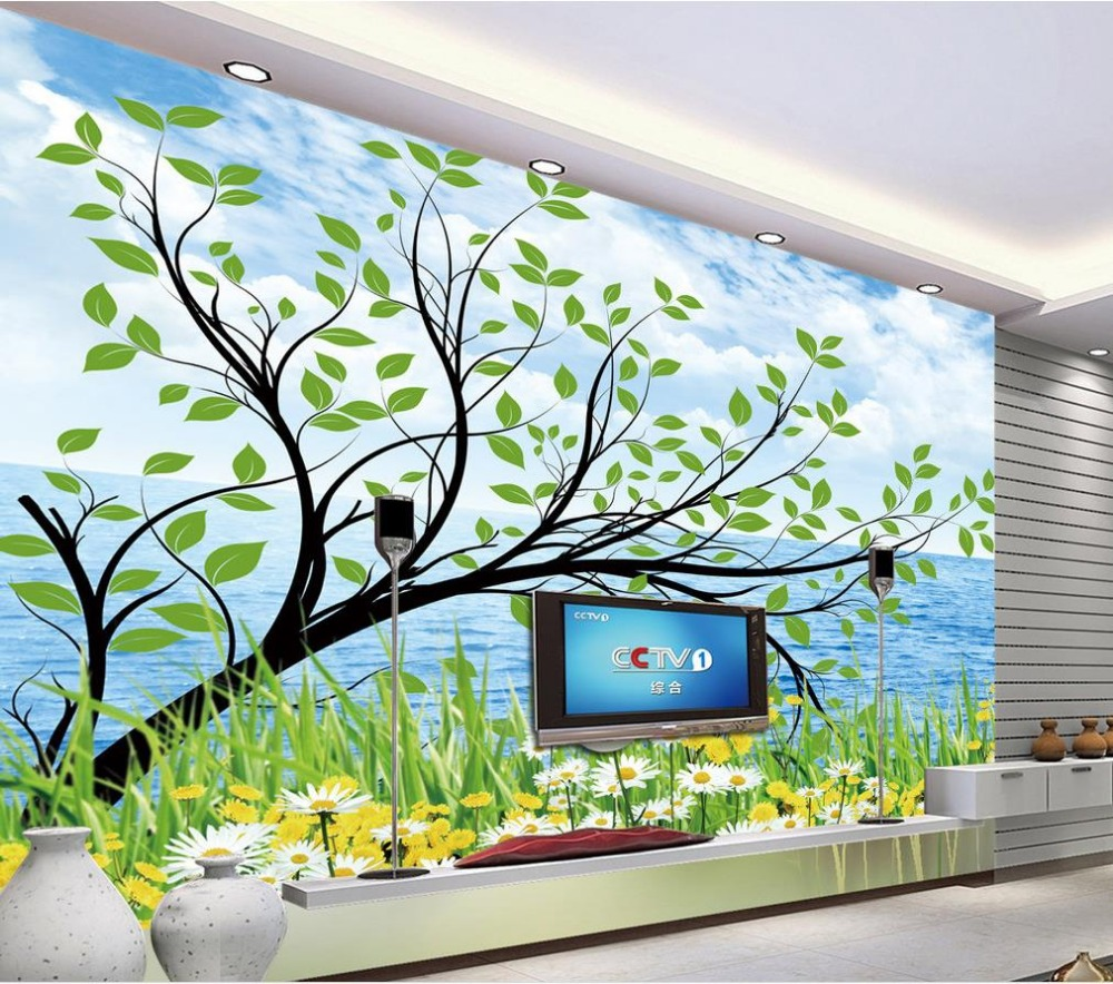 3d wallpaper for room Blue sky tree green backdrop photo wallpaper for walls bathroom 3d wallpaper(China)