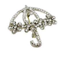 Fashion Hollow Out Umbrella Sun Umbrella Shape Brooch Pin Shining Contracted Flower Brooches Lot 6 Pcs(China)