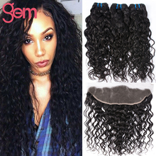 Brazilian Virgin Hair With Closure 13x4 Lace Frontal Closure With 3Bundles Brazilian Wet Wavy Human Hair with Ear to Ear Frontal