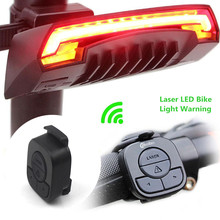 X5 Smart Rear Bicycle Light Bike Lamp Laser LED USB Rechargeable Remote Control Cycling Turning Tail Bycicle Light(China)