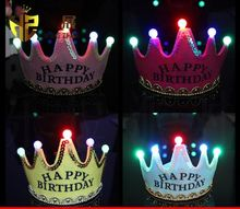 Birthday Cap Happy Glowing 5 lamp Crown Cap King Princess crown headdress Birthday party dress up Christmas carnival DHL Free