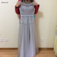 2017 Cheap Plus Size Fairy Long Bridesmaid Dresses Scoop Off the Shoulder Pretty Women Formal Wedding Party Prom Gown Dress Grey