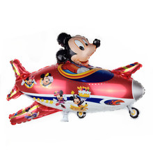 XXPWJ Free Shipping New Mickey & Minnie aircraft aluminum balloons children's birthday party balloon toy high quality Q-026(China)