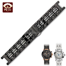 Top 316L Stainless Steel Watchband Concave Mouth 22*13mm Black Bracelet with Push-button Clasp For GC Watches Free Shipping MEN(China)