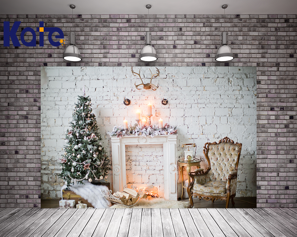 Kate Christmas Photography Backdrop White Brick Wall Fireplace Photo Backdrops Christmas Tree For Children Studio Background<br>