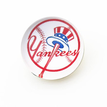 10pcs MLB New York Yankees Snap buttons Glass 18m Baseball Sports snaps button Diy Snaps Jewelry Bracelet&bangles charms