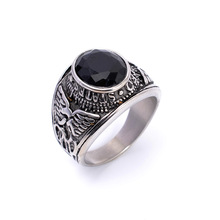 Black CZ Crystal Men's Stainless Steel United States Military Army Ring US Size 8-13