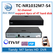 Tiandy 32CH NVR TC-NR1032M7-S4 1080P Support Onvif p2p and 4pc of 4T Hard Disk Network Video Recorder(China)