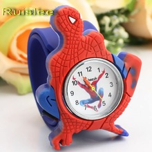 2016 Cartoon Spiderman Watches Fashion Children Boys Kids Students Spider-Man Sports Silicone Watches Analog Wristwatch(China)