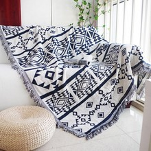 Double sides useful durable geometric pattern cotton blanket, wearable comforter , bed cover, pet blankets , sofa cover blanket