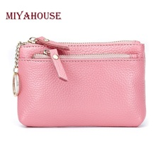 Miyahouse Genuine Leather Women Wallets Short Coin Purse Candy Color Female Card Holder Wallet With Key Ring Double Zipper Purse