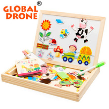 Global Drone Animal Wooden Puzzle Drawing board Farm Jungle Animal Puzzle Toys Magnetic  Puzzle Educational Baby Drawing Toy