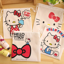 3 Pcs/Set Hello Kitty Cosmetic Pouch small article storage Drawstring Bag Debris Storage Bag Home Decor Gift bag D(China)