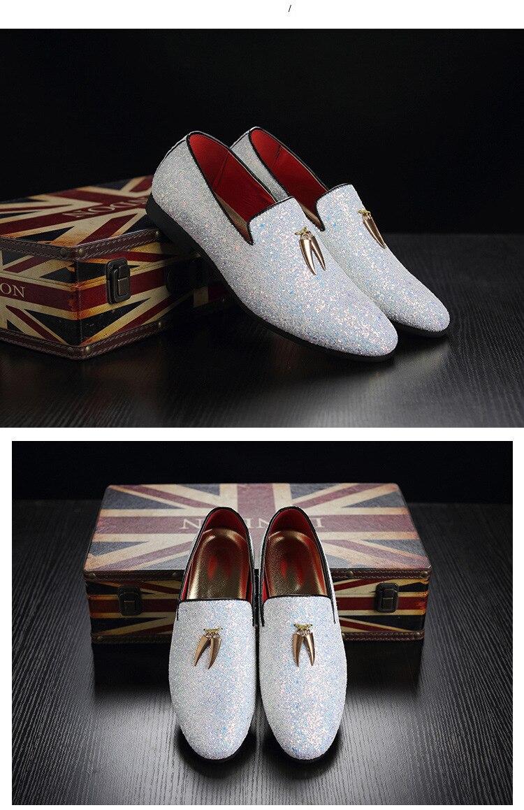 Mens Luxury Loafer Shoes Glitter Slip-on Moccasins