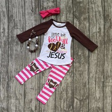 baby girls football season outfit girls little bit of football and a lot of jesus clothing girls stripe pant with accessories