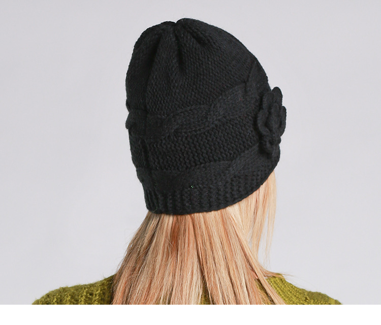 Autumn and winter new handmade flowers knitted wool knit cap black hatОдежда и ак�е��уары<br><br><br>Aliexpress