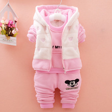 2018 Fashion Baby Girl Clothes Winter Cartoon Fleece Coat And T-shirt And Pants 3pcs Children Girl Clothing Sets Kid Tracksuit(China)