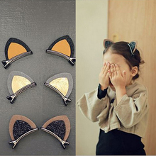 Sale 1PC 6 Colors Girls Baby Cat Ear Hairpin Fashion Cute Barrettes Hair Clip Headwear Hair Jewelry