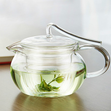 Free shipping 450ml heat-resistant glass tea pot, ribbon style, filter tank, Puer teapot, transparent glass tea pot only