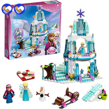 A toy A dream 316pcs Dream Princess Elsa's Ice Castle Princess Anna Olaf Set Model Building Blocks Gifts Toys Compatible lepin