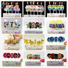 5pcs/set  Cartoon Kid's Birthday Cake Toppers Party Spiderman Mario Thomas Mickey Mouse Minions Avengers Candle Party Supplies