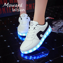 2017 New!! Fashion USB Charge Glowing Led Shoes Luminous Sneakers with Light Sole for Kids Boys Girls Children Basket Enfant 25