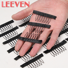 Wig combs Black Color Lace Wrap 7 Teeth Combs Wire Spring Comb wig Add to Wig Cap clip Snap For Wig/Hair weft/hair weave