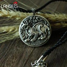 lanseis dropshipping 1pcs CH-834-C celt symbol viking LYNX animal pendant men necklace Double sided Eurasian women jewelry(China)
