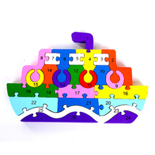 LLTOYS Hot 3d Wooden Cruise ship Baby Early Educational Alphabet Puzzle Cartoon Cruise Ship Brain Puzzle Game Toys WM-122(China)