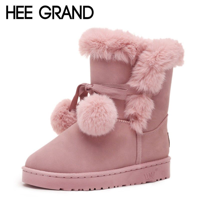 HEE GRAND Winter Women Boots Lace-Up Fur Ankle Snow Boots Warm Ball Flats Casual Platform Shoes Woman Flock Creepers XWX5368<br><br>Aliexpress
