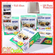 100 Sheets Fujifilm Instax Wide White Film + Free 1 Wall Album & 100 Photo Protector For Polaroid Instax Camera 300 200 210 100
