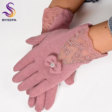 Women Lace Embroidered Wool Gloves New Winter Thick Ladies Bow-knot Ladies Gloves Grey And Pink Elegant Soft Mittens Gloves(China)