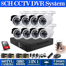 8 channel cctv 960h video surveillance system with nigh vision 800tvl Security Cameras cctv dvr usb 3g wifi hdmi+Free Shipping