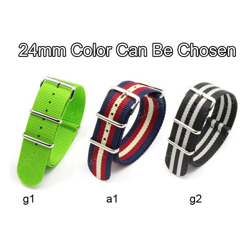 18mm~24mm Nato Nylon Strap Mens Watchbands Women Belt Silver Black Metal Buckle Sport Watchband Relojes Hombre
