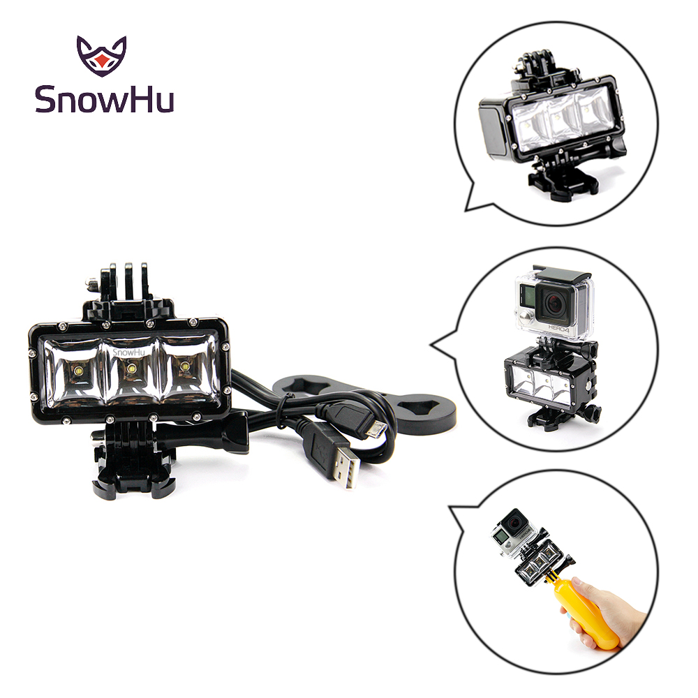 SnowHu LED Night Light Underwater 30m Waterproof Light Mount Kit Gopro Hero Session 6 5 4 3 Xiaomi Yi SJ4000 YX258