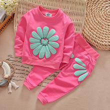 2pcs 2T~4T Baby Girl Clothes Sets Cotton Pink Sunflower Long Sleeved+Pants Autumn Spring Pink Sunflower kids Clothes Set V49(China)