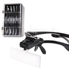 5pcs Lens Head Band Magnifier Glass Visor 2-LED Light Magnifying Loupe New-Y103(China)
