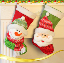 2PCS/lot Large Christmas stocking Xmas gift bag xmas deco Christmas scene Hanging Decorations, More Than $100 TNT Free Shipping
