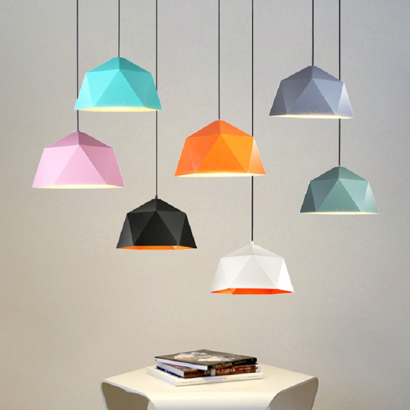 [ECOBRT]Modern simple colorful iron hanging lamps with E27 socket for restaurant study bar living room bedroom pendant lights