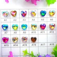 AB colors silver claw settings 7 Sizes heart shape Sew on glass Crystal rhinestone beads wedding dress accessories trim(China)
