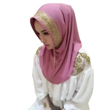 Women Vintage Floral Caps Hijab Islamic Full Cover Scarf Muslim Golden Fringe Embroidery Hats(China)
