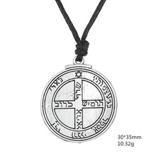 5 PCS Talisman Amulet JewelryAncient Silver Cross Sanskrit Solomon Seal Pendant Vintage Rope Gothic Necklace Men Wicca Charms(China)