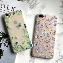 Coque for iPhone 6S Case Cute Butterfly Leaf Phone Case for iPhone6 6S 7 8 Plus Beautiful Floral Soft TPU Transparent Back Cover